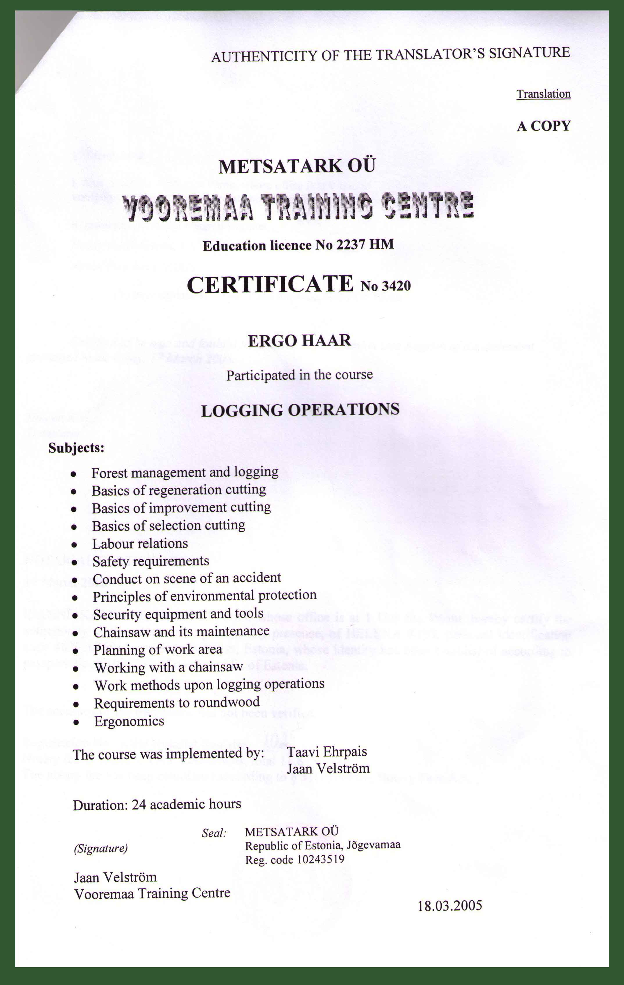 Haarwood - Certificates and reference letters